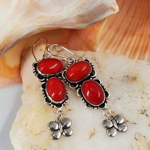 Silver Earrings Red Coral Stone
